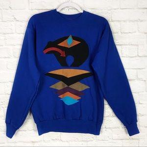 Moxie Indie Suede Stitched Southwestern Sweatshirt